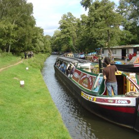 Narrow Boat on the River Wey , Godalming