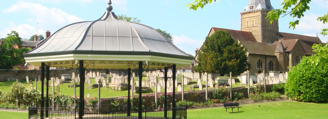 Godalming Bandstand with Graveyard and Parish Church in Background