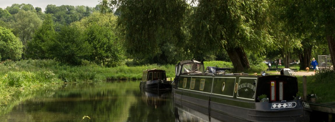 Godalming Canal with Narrowboat