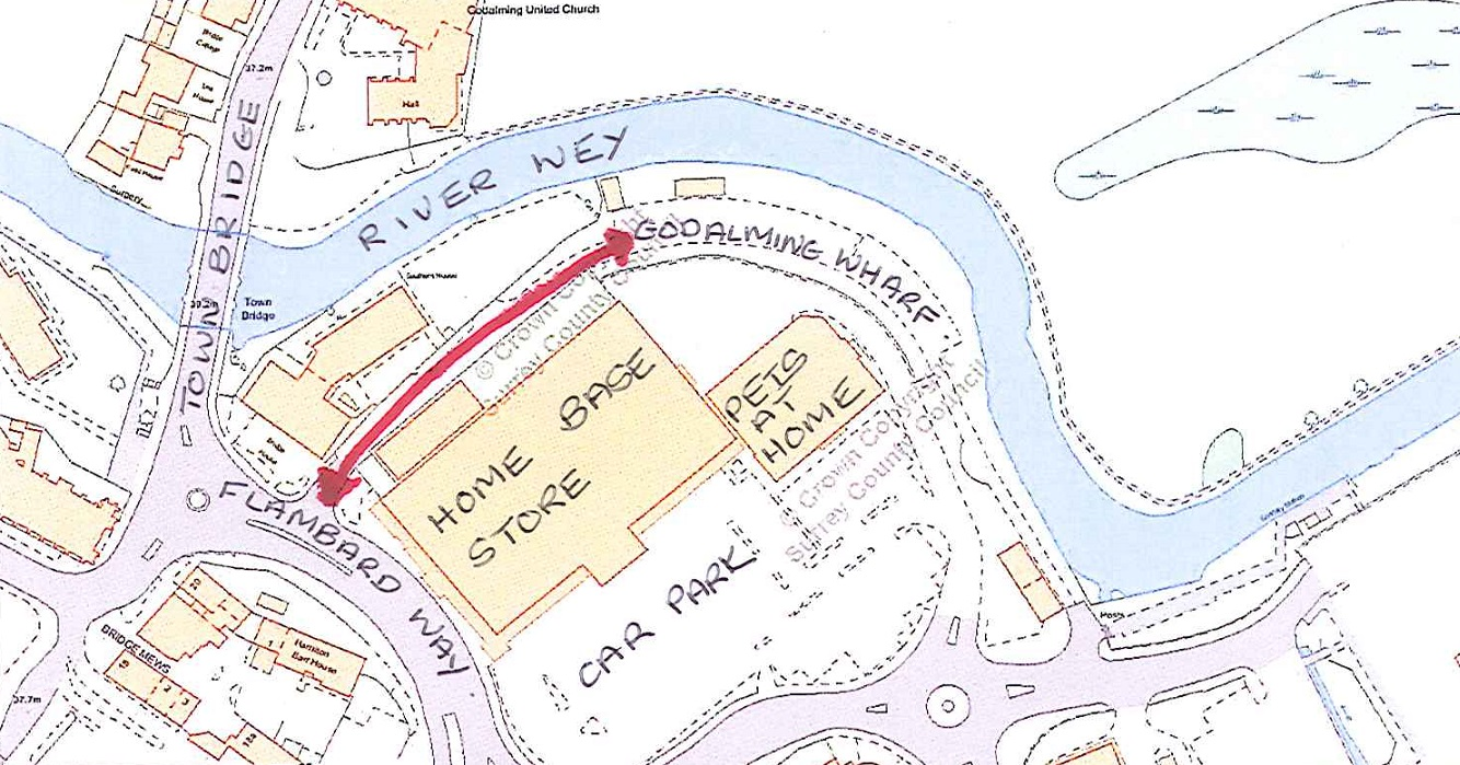 Map of Natalie Way and The Wharf showing the Public Right of Way