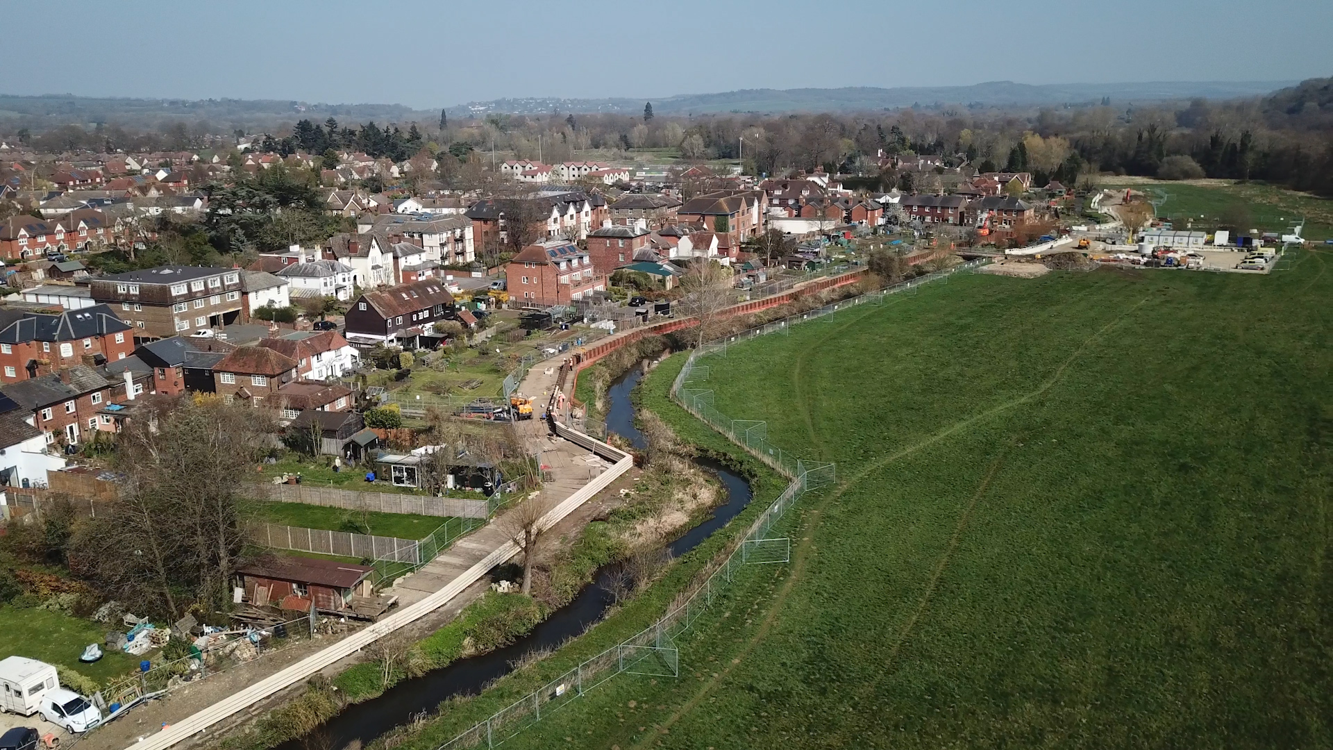 Aerial view of Godalming Flood Alleviation Defences under construction
