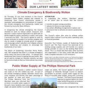 Click on this image to open a pdf version of the September 2019 edition of the Town Council's newsletter