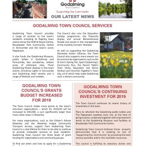 Click on this image to open a pdf version of the March 2019 edition of the Town Council's newsletter