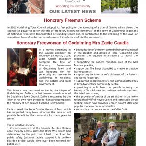 Click on this image to open a pdf version of the June 2019 edition of the Town Council's newsletter