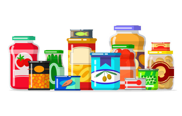 Canned goods in a row. Tinned goods food product stuff, preserved food, supplied in a sealed can. Vector flat style cartoon illustration isolated on white background