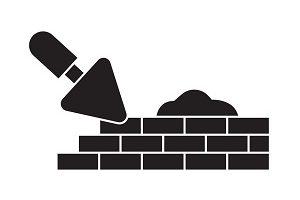 Brick laying masonry black vector concept icon. Brick laying masonry flat illustration, sign, symbol