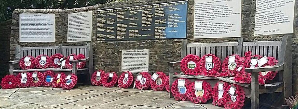 Godalming War Memorial with Wreaths