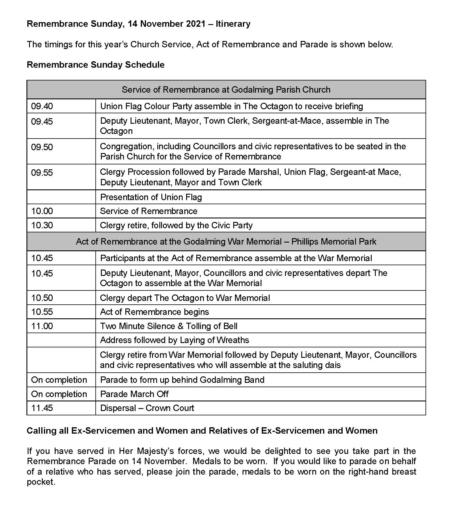 Remembrance Sunday Itinerary - 2021